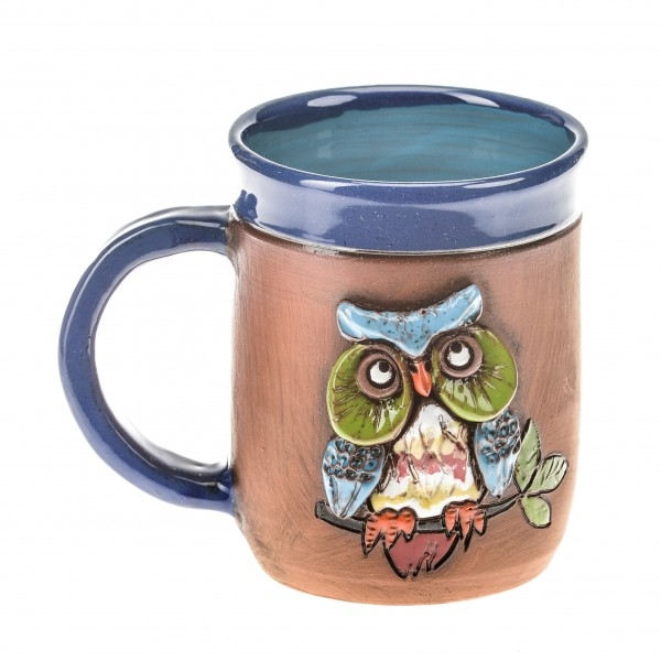 Blaue Keramiktasse mit einer Eule auf einem Ast II