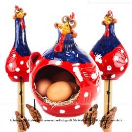 3er Set Hennen rot-blau - Kantenhocker und Eierkorb