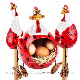 3er Set Hennen rot-weiss - Kantenhocker und Eierkorb