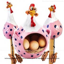 3er Set Hennen rosa - Kantenhocker und Eierkorb