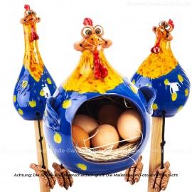 3er Set Hennen blau-gelb - Kantenhocker und Eierkorb