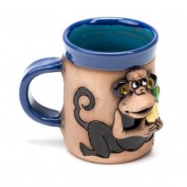 Blaue Keramiktasse Affe und Ananas