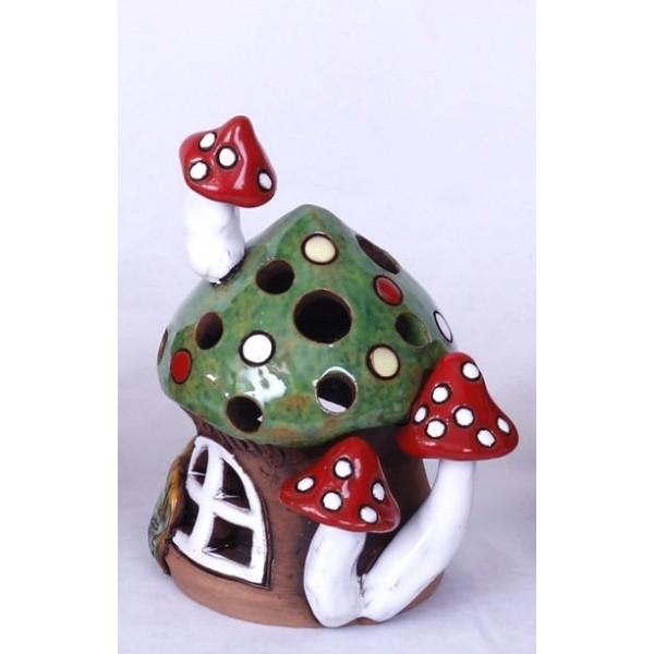 Teelichthaus mit grünem Dach – Größe S