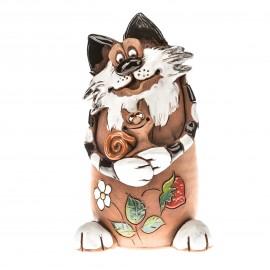 Gartenstecker Katze mit Schnecke